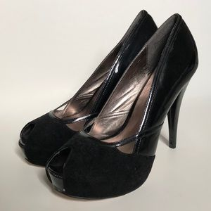 Peeptoe Heels with Faux Suede& Patent Leather Trim